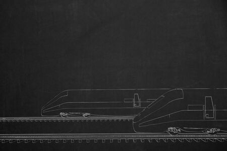 perpective: A side by side race from two trains illustrated with chalk on a dark chalkboard. Stock Photo