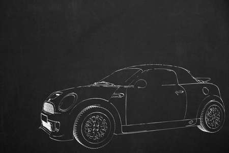 drawed: An illustration from a small car drawed with white chalk on a dark chalkboard.