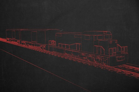 electric train: An electric train painted with red chalk on a dark chalkboard.