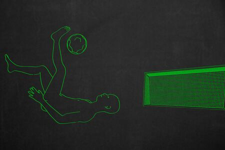 drawed: A bicycle kick in front of a soccer goal, drawed with green chalk.
