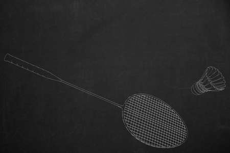 drawed: A badminton scene drawed with white chalk on a dark chalkboard.