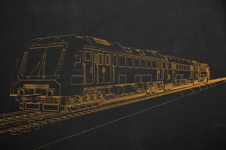 electric train: An electric train painted with chalk on a dark chalkboard.
