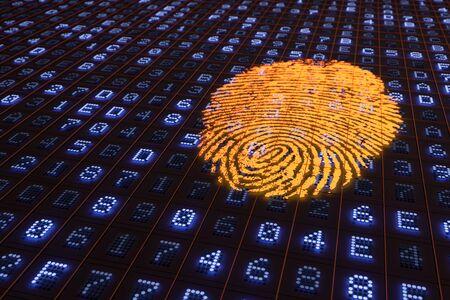 hexadecimal: A 3D rendering from a glowing orange fingerprint on a hexadecimal LED Panel.