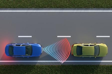 車衝突回避システムの平面図から 3 D レンダリング。 写真素材