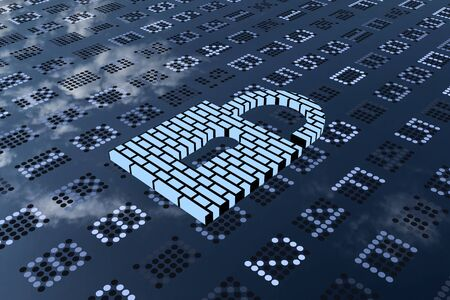 hexadecimal: A 3D rendering from a blueish padlock with a wall pattern on a digital LED panel.