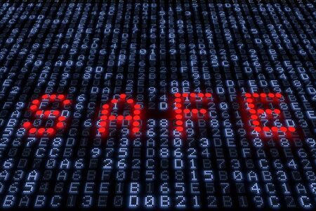 hexadecimal: A 3d rendering from the word safe with red lights on a hexadecimal LED Panel. Stock Photo