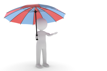 A 3D rendering from a clay character standing in the rain with a two colored umbrella and a outstretched hand. Stock Photo