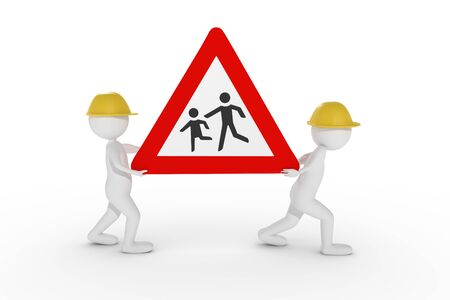 A 3D rendering from two clay characters with a yellow helmet carrying a children caution street sign.