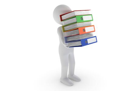A 3D rendering from a clay character who is carrying a stack of files Stock Photo
