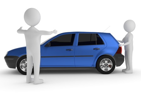 A 3D rendering from a clay character who is  pushing a car while another person is showing the distance to the obstacle Stock Photo