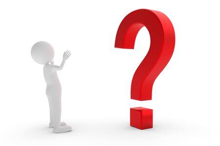 A 3D rendering from a clay character who is standing before a red question mark and is searching for an answer. Stock Photo