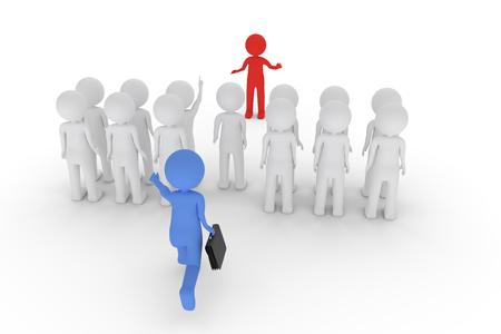Een 3D-weergave van een dagelijkse vergadering met klei-figuren waarin een deelnemer te laat komt. Stockfoto - 84049647