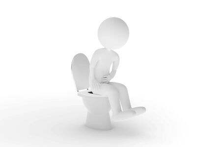 A 3D rendering from a clay character who is sitting on the toilet with acute abdominal pain.
