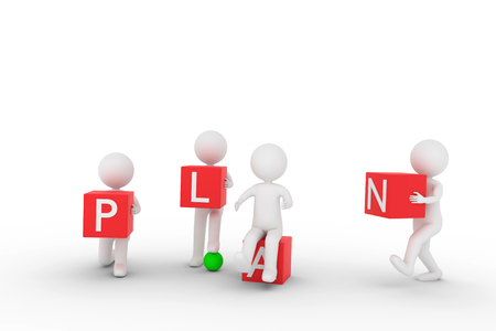A 3D rendering from some clay characters who are carrying red cubes with letters to build the word PLAN. Stock Photo