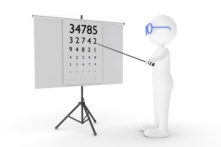A 3D rendering from a clay characters as an  eye specialist who is pointing to an eye test chart.