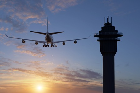Una representación 3D de una vista posterior de un avión al lado de un control de tráfico aéreo.