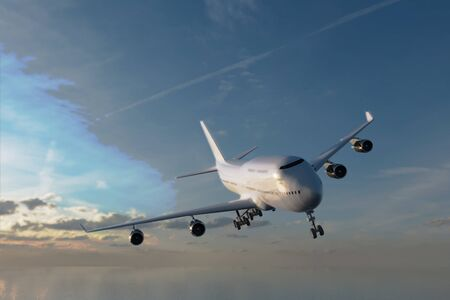 A 3D rendering from a front view of an aircraft in an approach to land procedure.