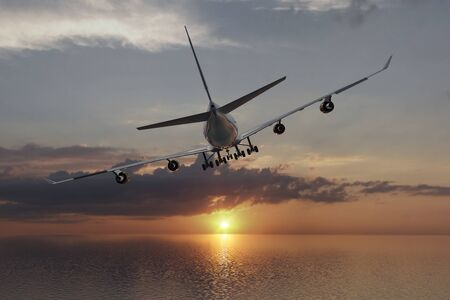 A 3D rendering from a flying airliner over the ocean towards the sun.