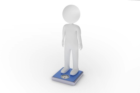 bathroom scale: A 3D rendering from a clay character on a blue scale controlling the weight. Stock Photo
