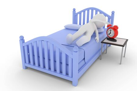 A 3D rendering from a clay character on a bed is turning to switch off the alarm clock.