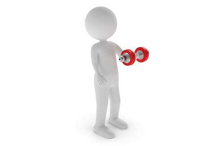 A 3D rendering from a clay character trains his muscles with a red dumbbell. Stock Photo