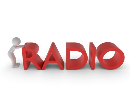 A 3D rendering from a clay character who is pushing the R from the extruded word radio into the right position. Stock Photo