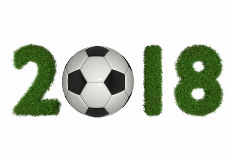 A 3D rendering from the date 2018 with grass and a soccer ball, isolated on white.