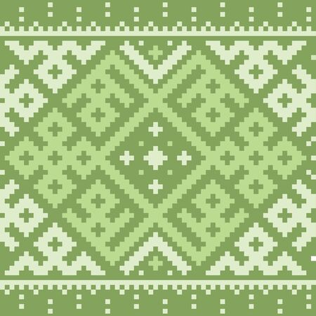 Ethnic ornaments pattern. Repeat pattern of green color.  イラスト・ベクター素材