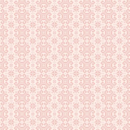 Ethnic ornaments pattern. Repeat pattern of rosy colors. Vetores