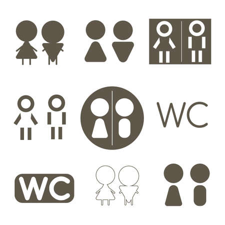 Man and lady. Abstract, different toilet icon.