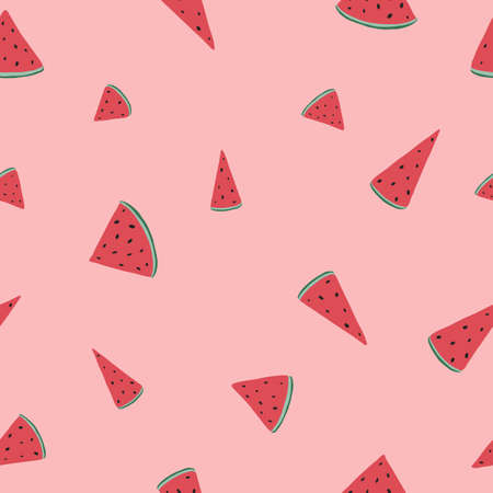 Colorful watermelon pattern. Vector seamless pattern, can be used for fabrics, wallpaper, web, scrapbooking, card. Ilustrace