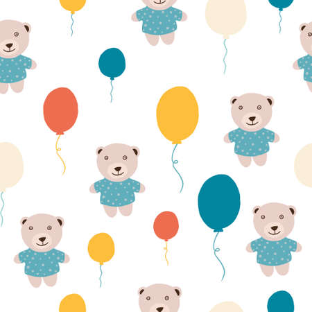 Repeating background with teddy bears and colored balloons. Can be used for postcards, invitations, advertising, web, textile and other. Vetores