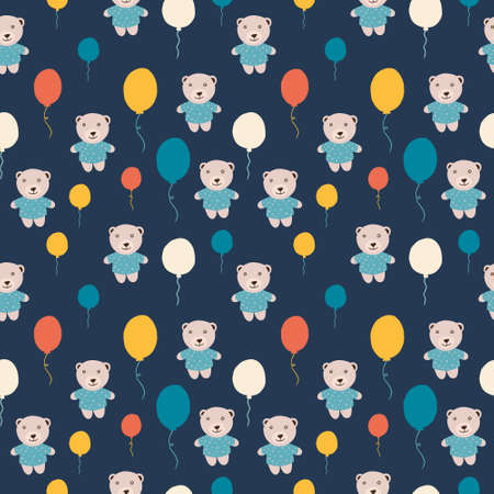 Repeating background with teddy bears and colored balloons. Can be used for postcards, invitations, advertising, web, textile and other.