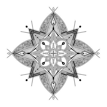 Abstract Mandala. Black and white pattern for adult coloring book. Vintage decorative elements. Oriental pattern, vector illustration. Vektorgrafik