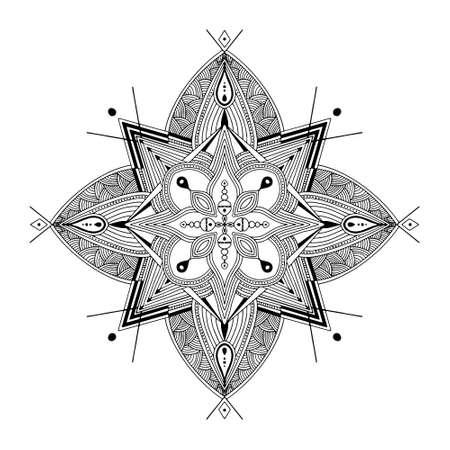 Abstract Mandala. Black and white pattern for adult coloring book. Vintage decorative elements. Oriental pattern, vector illustration. Vektoros illusztráció