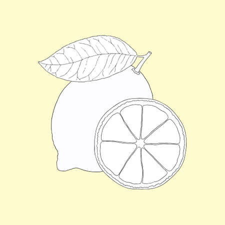 Monochrome lemon on a yellow background. Can be used for postcards, invitations, advertising, web, textile and other.