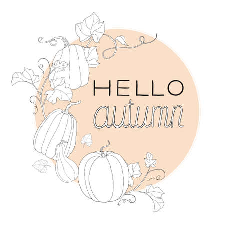 """Composition of pumpkin and """"Hello autumn� note. Can be used for postcards, invitations, internet, banners, flyers, textures."""