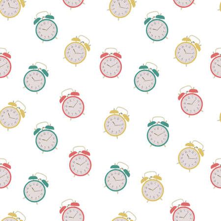 Alarm clock pattern. Vector alarm clock on white background. Colorful seamless pattern. Ilustrace