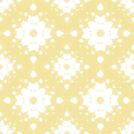 For symmetrical abstract composition. Seamless pattern of yellow and white colors. Vettoriali