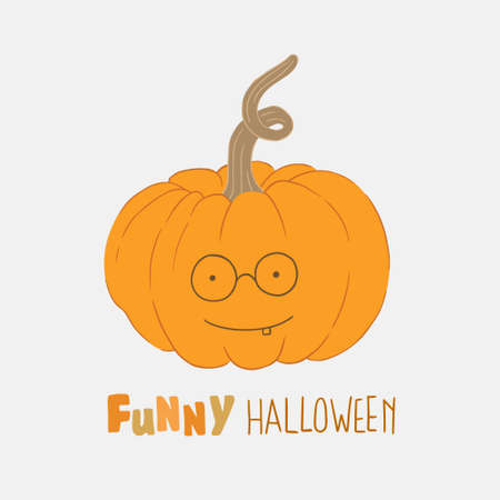 Illustration on Halloween theme. A smiling pumpkin with a note