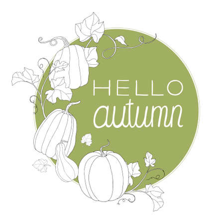 "Composition of pumpkin and ""Hello autumn"" note. Can be used for postcards, invitations, internet, banners, flyers, textures. Ilustracja"
