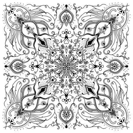 Abstract Mandala. Black and white pattern for adult coloring book. Vintage decorative elements. Oriental pattern, vector illustration. Stock fotó - 152477588
