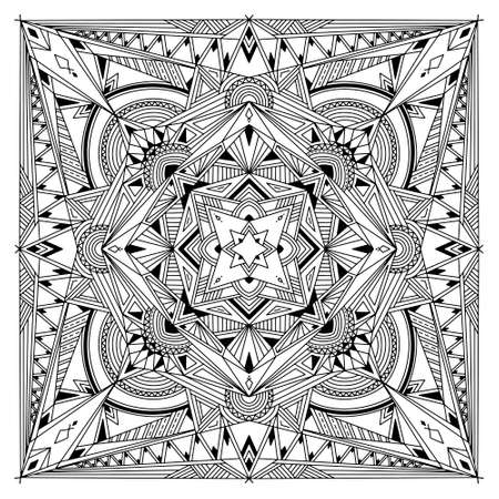 Abstract Mandala. Black and white pattern for adult coloring book. Vintage decorative elements. Oriental pattern, vector illustration.