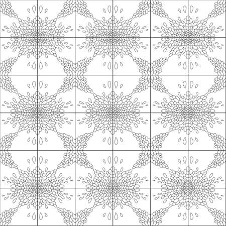 Abstract, seamless plant background. Black and white squares decorated with plant ornament. Vector illustration can be used for fabrics, textile, web, invitation, card.
