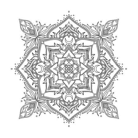 Abstract Mandala. Black and white pattern for adult coloring book. Vintage decorative elements. Oriental pattern, vector illustration. Vector Illustratie