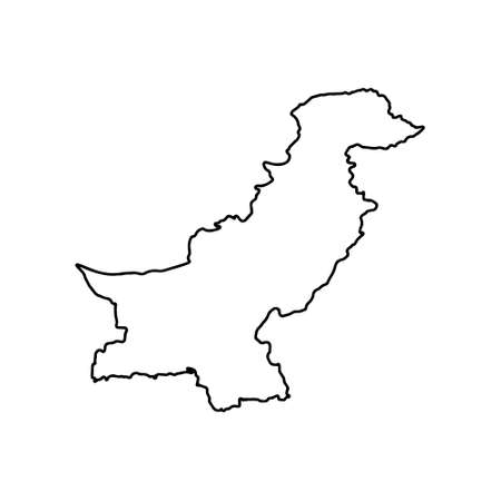 Outline map of Pakistan white background. Vector map with contour.