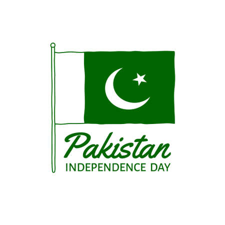 Vector illustration on the theme of Pakistan Independence Day on August 14. Decorated with a handdrawn Pakistan flag.