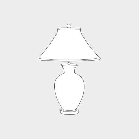 Vintage lamp. Home lighting vintage table lamp isolated on white background. Monochrome illustration. 일러스트