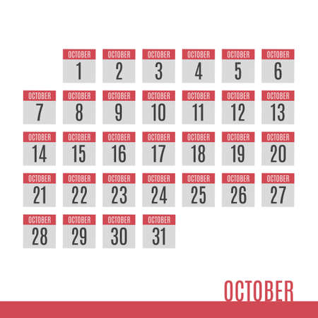 October vector calendar icons. Numbers from 1 to 31. Red, gray and white. Иллюстрация