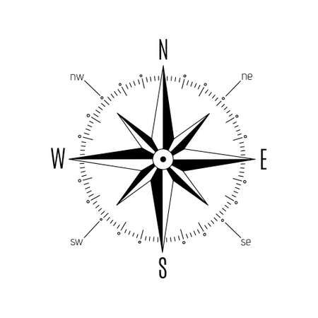 The rose of the winds. Compass rose. Vector illustration, flat design. Vector Illustration